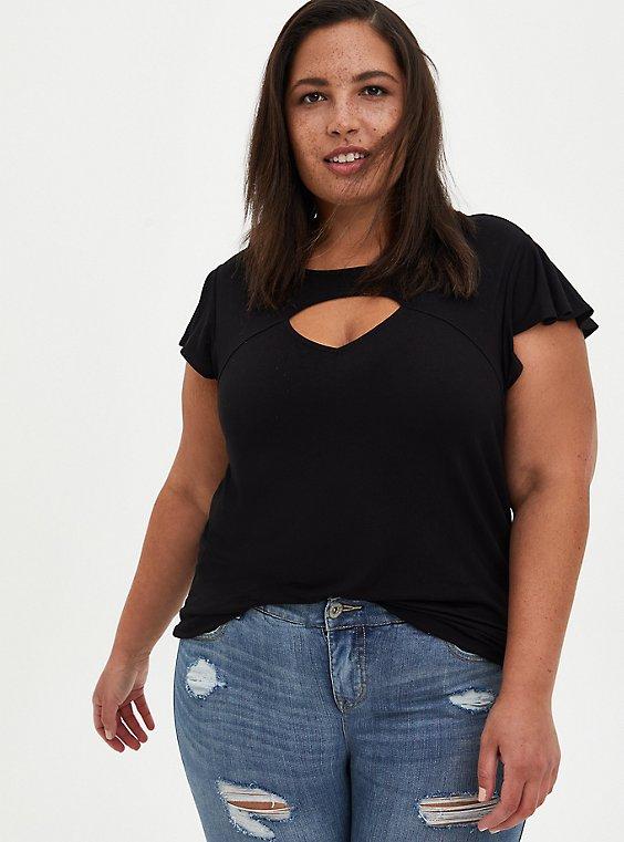 Plus Size Flutter Sleeve Top - Super Soft Black, DEEP BLACK, hi-res