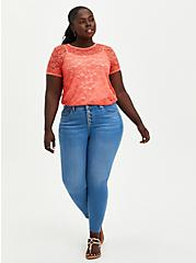 Plus Size Coral Lace Tee, CORAL, alternate