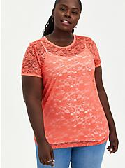 Plus Size Coral Lace Tee, CORAL, hi-res