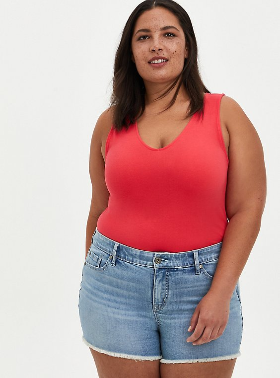 Plus Size Bright Berry V-Neck Foxy Tee, TEABERRY, hi-res