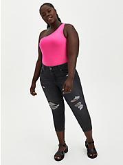 Plus Size One Shoulder Tank - Neon Pink, PINK GLO, alternate