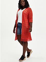 Drop Shoulder Kimono - Pointelle Orange, , alternate