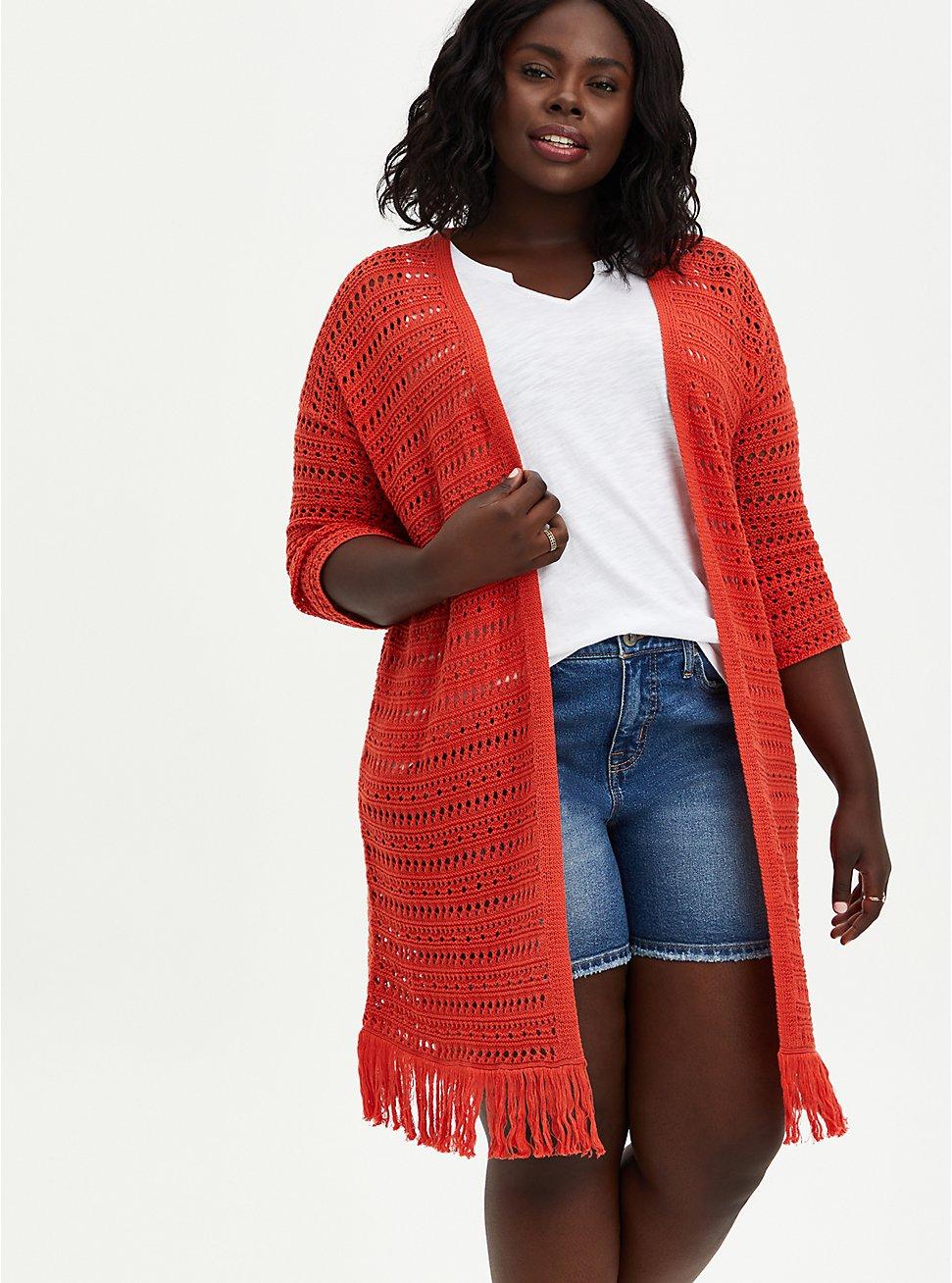Drop Shoulder Kimono - Pointelle Orange, , hi-res