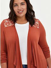 Super Soft Brown Drape Front Cardigan Sweater, BROWN, alternate