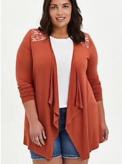 Super Soft Brown Drape Front Cardigan Sweater, BROWN, hi-res