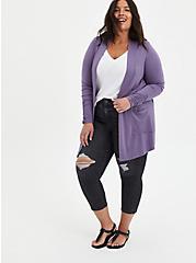 Open Cardigan Sweater - Super Soft Purple, PURPLE, alternate