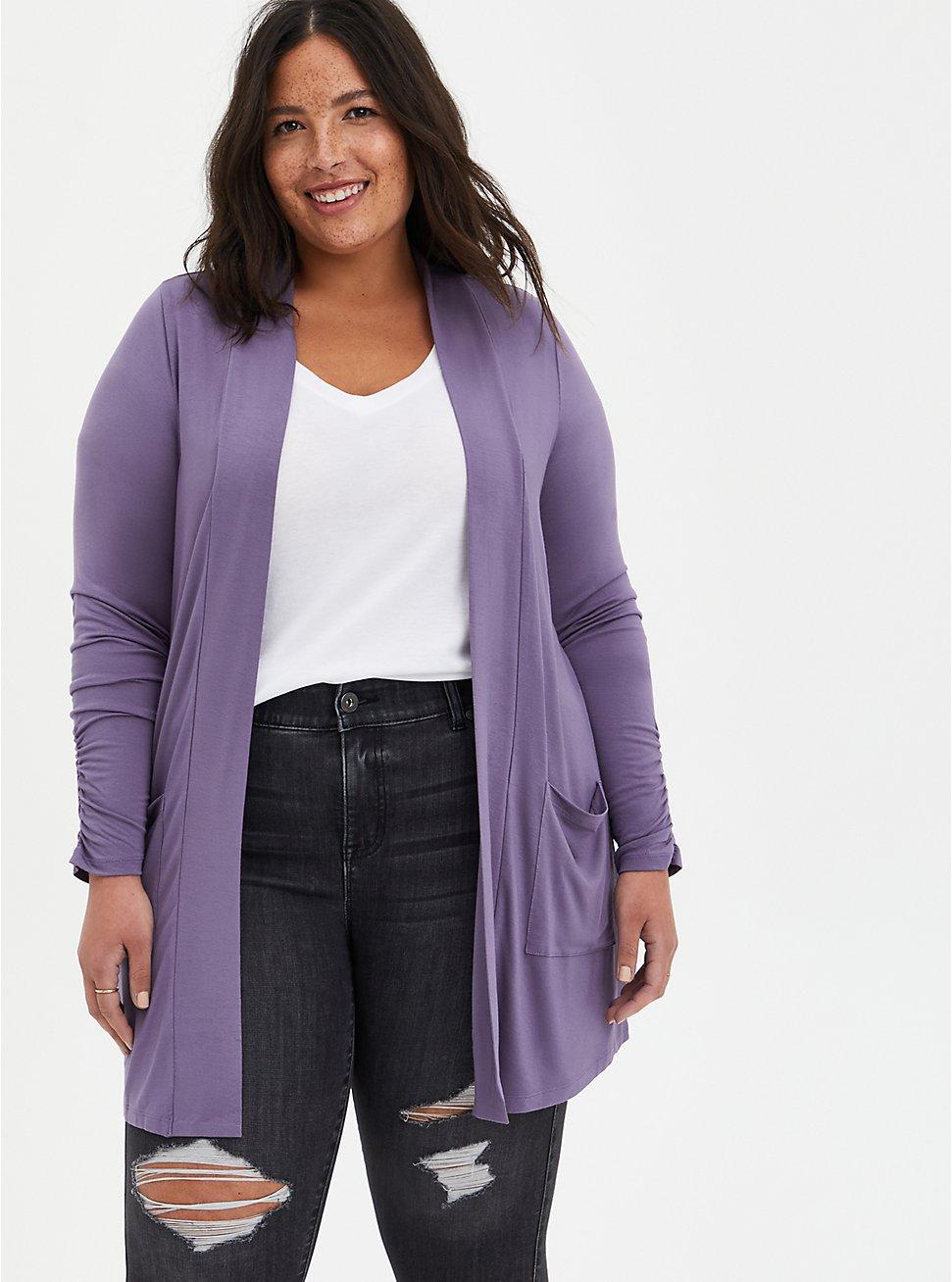 Open Cardigan Sweater - Super Soft Purple, PURPLE, hi-res