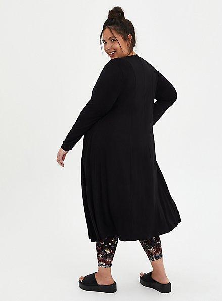 Fit & Flare Cardigan Sweater - Super Soft Black , DEEP BLACK, alternate