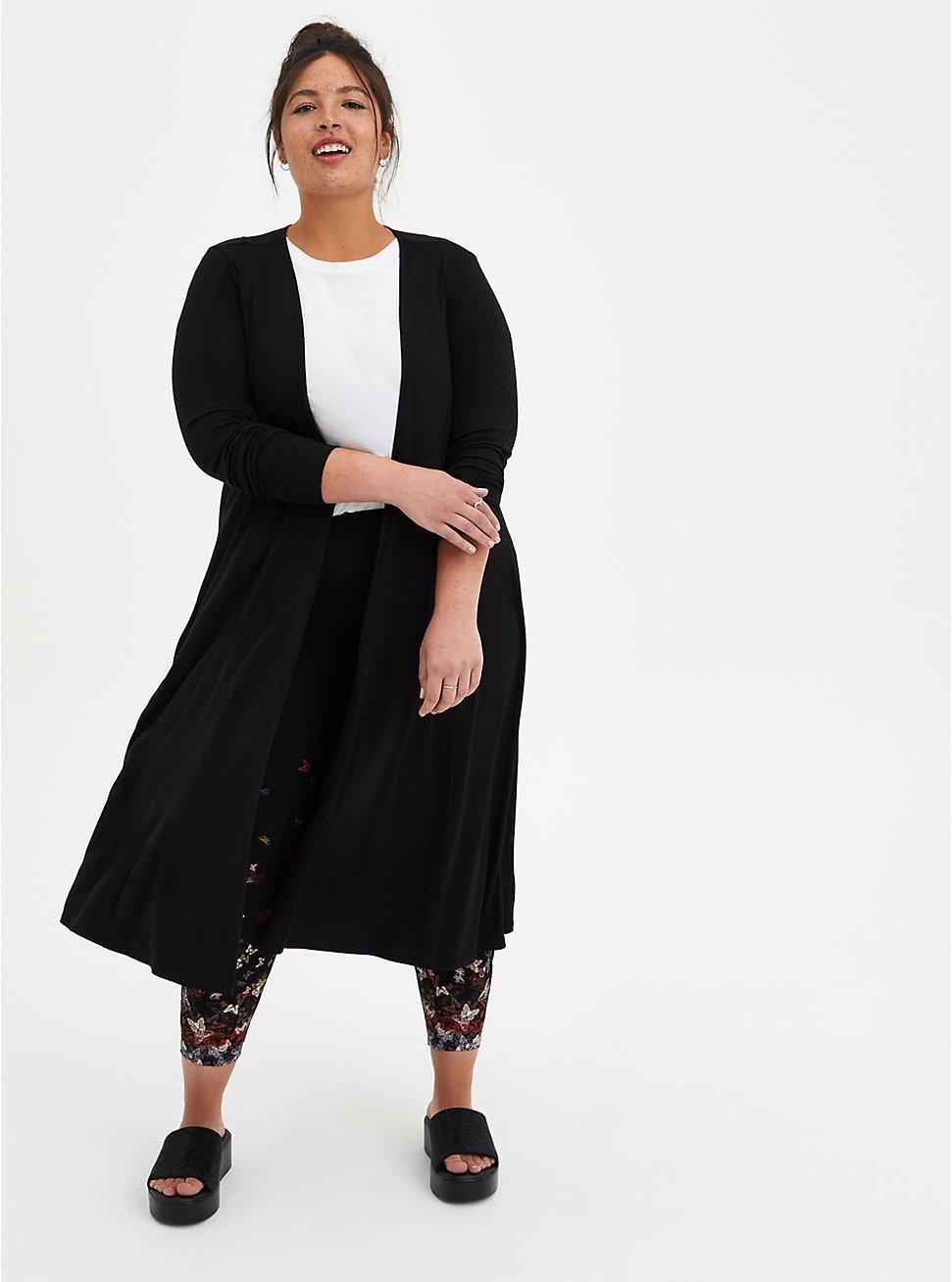 Fit & Flare Cardigan Sweater - Super Soft Black , DEEP BLACK, hi-res