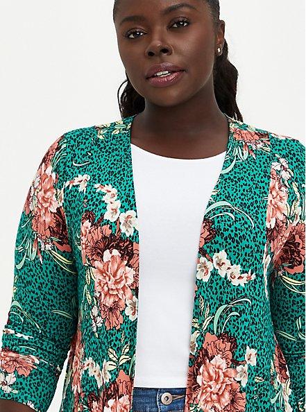 Fit & Flare Cardigan Sweater - Super Soft Floral Green, FLORAL, alternate