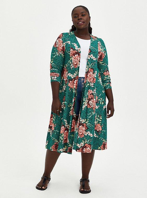 Fit & Flare Cardigan Sweater - Super Soft Floral Green, , hi-res
