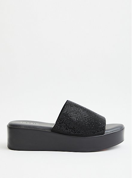 Black Rhinestone Flatform Sandal (WW), BLACK, alternate