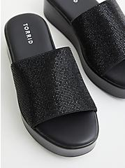 Black Rhinestone Flatform Sandal (WW), BLACK, hi-res