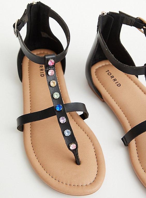 Plus Size Celebrate Love Rainbow Rhinestone T-Strap Sandal (WW), RAINBOW, hi-res