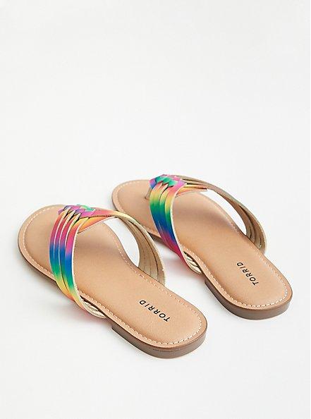 Celebrate Love Rainbow Faux Leather Braided T-Strap Sandal (WW), RAINBOW, alternate