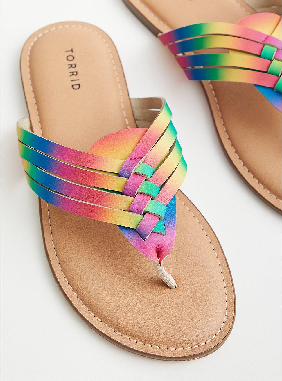Plus Size Celebrate Love Rainbow Faux Leather Braided T-Strap Sandal (WW), RAINBOW, hi-res