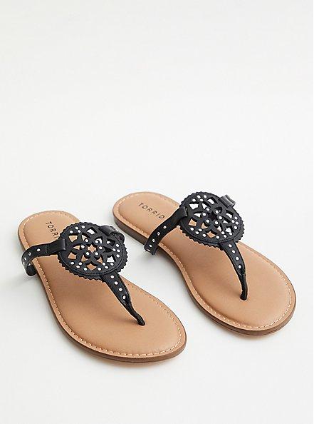 Faux Leather T-Strap Sandal - Black, BLACK, alternate