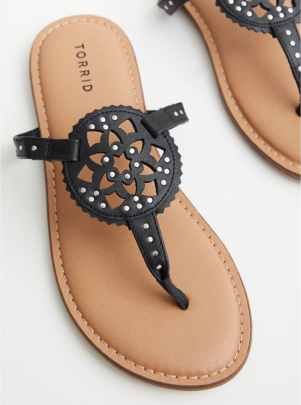 Faux Leather T-Strap Sandal - Black, BLACK, hi-res