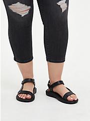 Plus Size Black Rubber Velcro Strap Sandal (WW), BLACK, hi-res