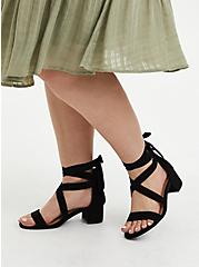 Black Lace-Up Block Heel (WW), BLACK, alternate