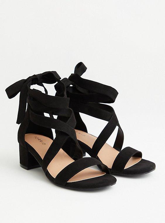 Black Lace-Up Block Heel (WW), BLACK, hi-res
