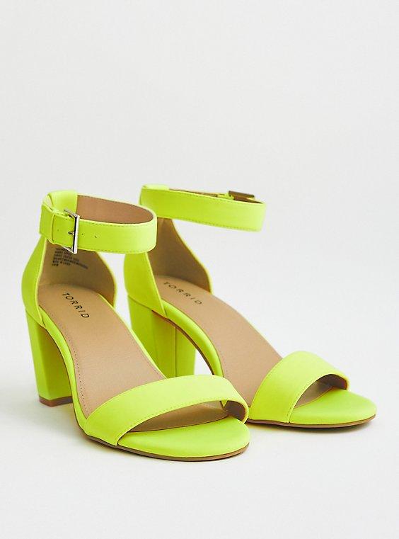 Neon Yellow Neoprene Mid Block Heel (WW), NEON YELLOW, hi-res