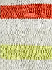 Plus Size Ivory Stripe Drop Shoulder Cardigan, STRIPE - MULTICOLOR, alternate
