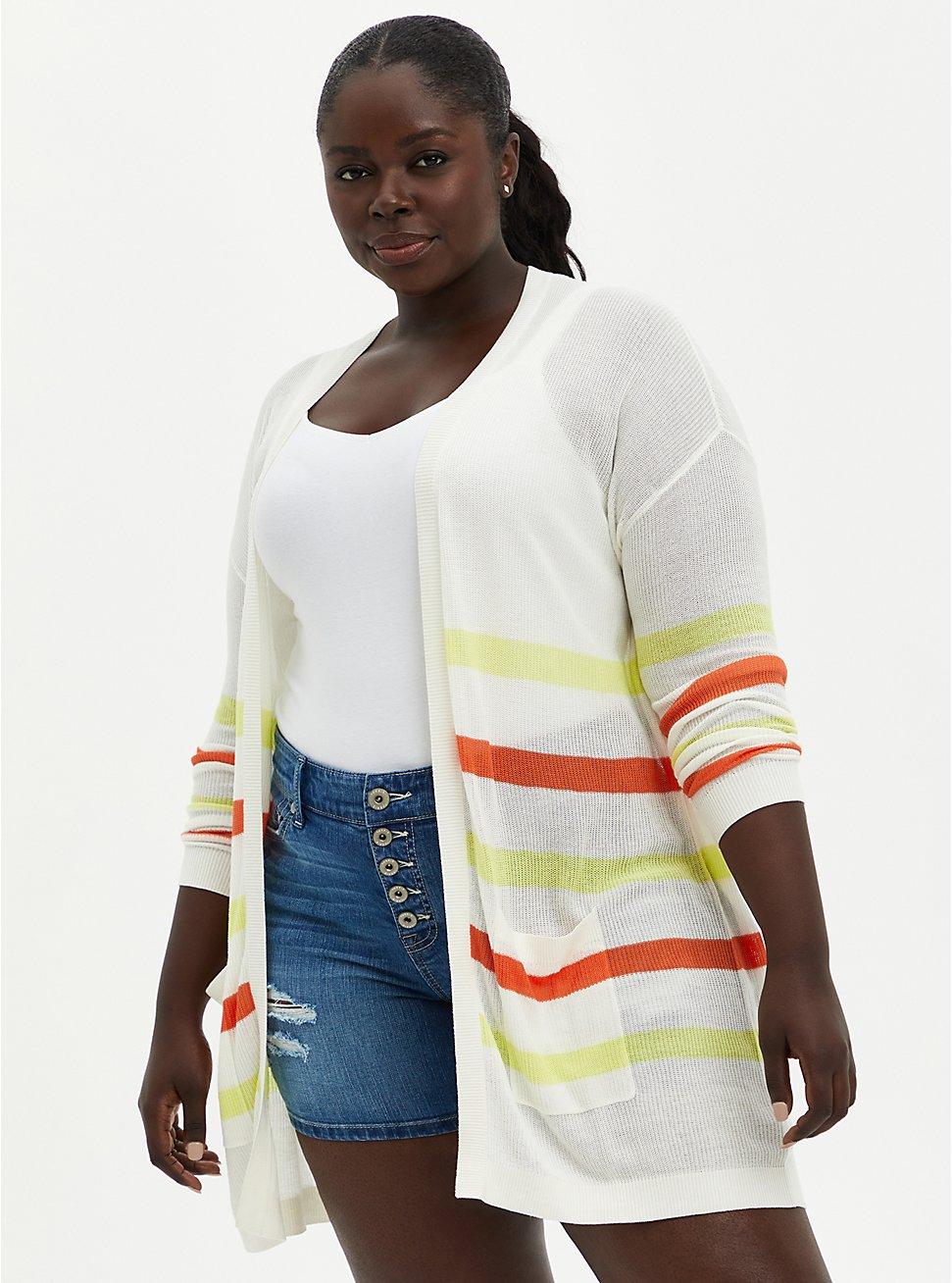 Plus Size Ivory Stripe Drop Shoulder Cardigan, STRIPE - MULTICOLOR, hi-res