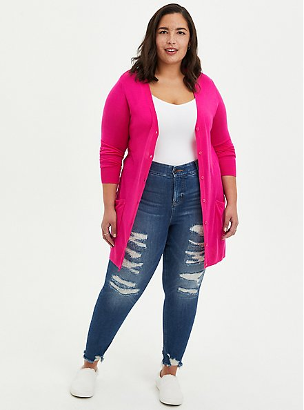Pink Button Front Cardigan, PINK GLO, alternate