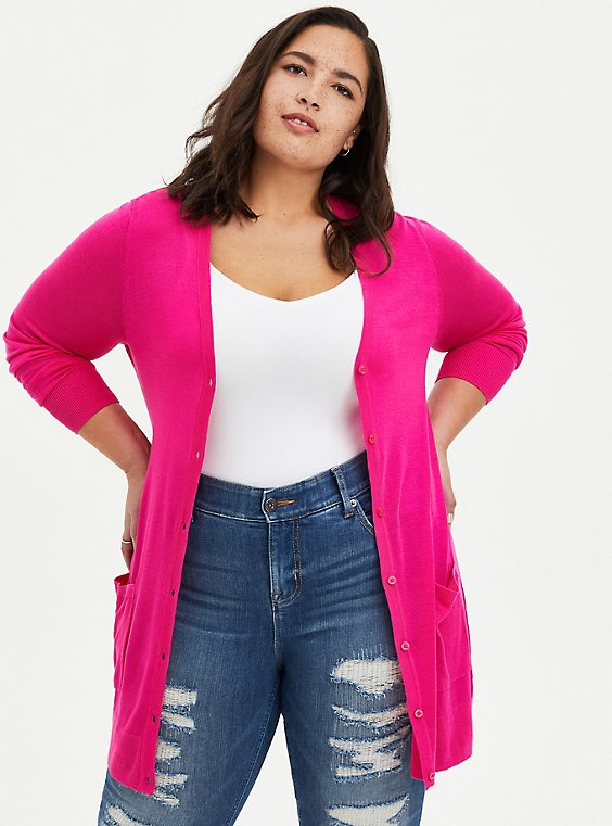 Pink Button Front Cardigan, PINK GLO, hi-res