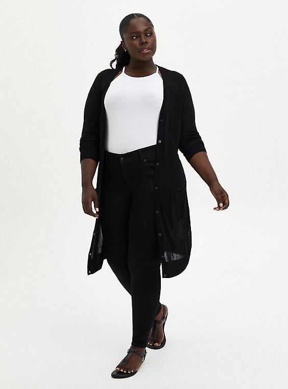 Plus Size Black Button Front Cardigan, DEEP BLACK, hi-res