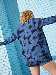 Navy Tie-Dye Button Front Cardigan, PEACOAT, alternate