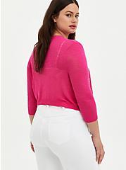 Plus Size Pink Slub Yarn Shrug, PINK GLO, alternate