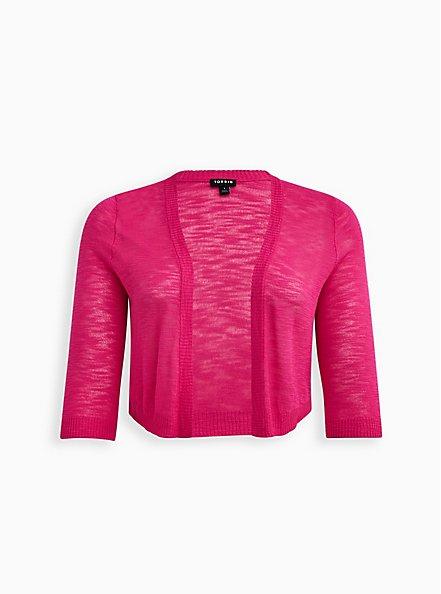 Pink Slub Yarn Shrug, PINK GLO, hi-res