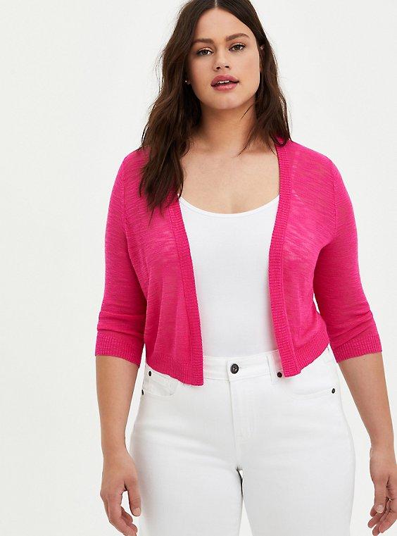 Plus Size Pink Slub Yarn Shrug, , hi-res