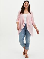 Light Pink Pointelle Drape Front Cardigan, ALMOND BLOSSOM, alternate