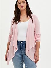 Light Pink Pointelle Drape Front Cardigan, ALMOND BLOSSOM, hi-res