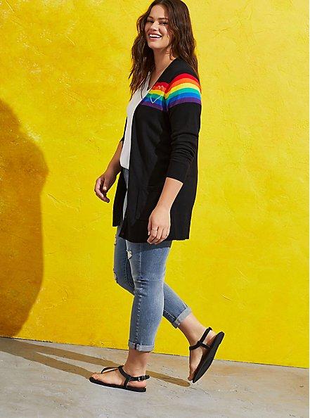 Plus Size Celebrate Love Button Front Cardigan - Rainbow Stripe Black, STRIPE - MULTICOLOR, alternate