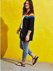Celebrate Love Button Front Cardigan - Rainbow Stripe Black, STRIPE - MULTICOLOR, alternate