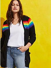 Celebrate Love Button Front Cardigan - Rainbow Stripe Black, STRIPE - MULTICOLOR, hi-res