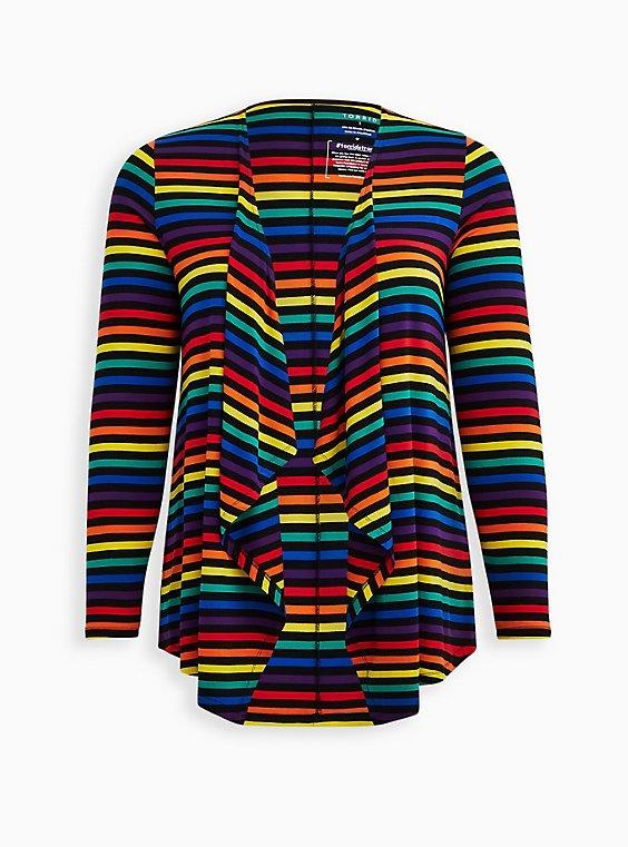 Celebrate Love Drape Front Cardigan - Super Soft Rainbow Stripe, , hi-res