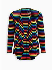 Celebrate Love Drape Front Cardigan - Super Soft Rainbow Stripe, STRIPE - MULTICOLOR, hi-res