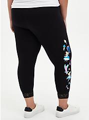 Disney Alice In Wonderland Curiouser Lace Hem Crop Legging, DEEP BLACK, alternate