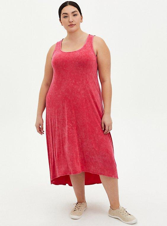 Coral Wash Super Soft Hi-Lo Maxi Dress , CORAL, hi-res