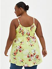 Babydoll Tunic - Challis Floral Neon Lime, FLORAL - GREEN, alternate