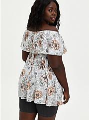 Plus Size Cold Shoulder Top - Crinkle Gauze Floral White, FLORAL - WHITE, alternate