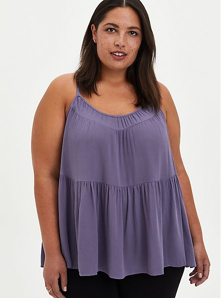 Tiered Cami - Gauze Purple, , hi-res