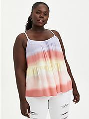 Tiered Cami - Gauze Beach Stripe Tie Dye , STRIPE - WHITE, hi-res