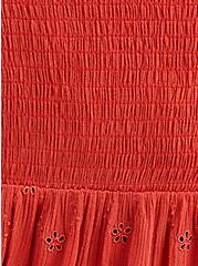 Peplum Top - Eyelet Crinkle Gauze Red, RUST, alternate