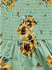 Peplum Top - Crinkle Gauze Floral Eyelet Green, FLORAL - GREEN, alternate
